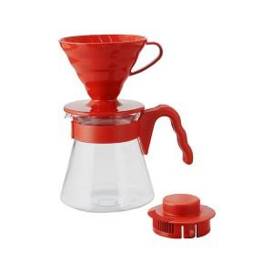 """Hario V60 Kahve Demleme Seti """"Kırmızı"""""""
